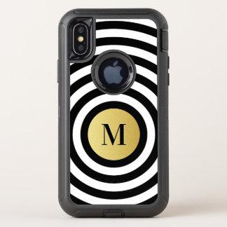 Capa Para iPhone X OtterBox Defender Monograma legal do ouro do teste padrão da listra