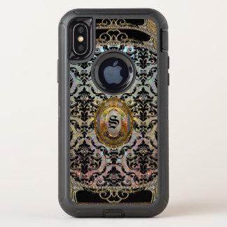 Capa Para iPhone X OtterBox Defender Monograma protetor do damasco bonito de Halleesham