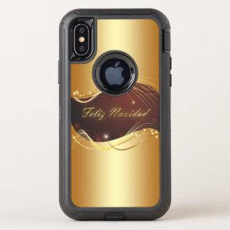 Capa Para iPhone X OtterBox Defender Motriz dourado do Natal com fundo vermelho…