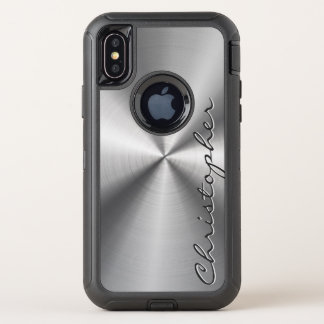 Capa Para iPhone X OtterBox Defender Olhar radial metálico de aço inoxidável