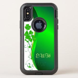 Capa Para iPhone X OtterBox Defender Onda afortunada do brilho do falso do ouro do