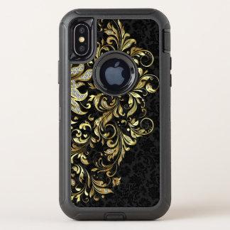 Capa Para iPhone X OtterBox Defender Ouro preto elegante & laço floral do brilho do
