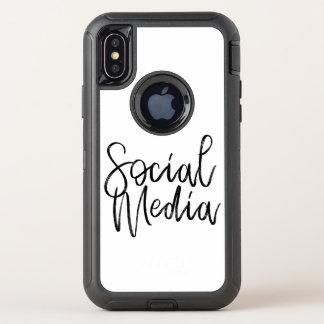 Capa Para iPhone X OtterBox Defender Tipografia social dos amantes dos meios