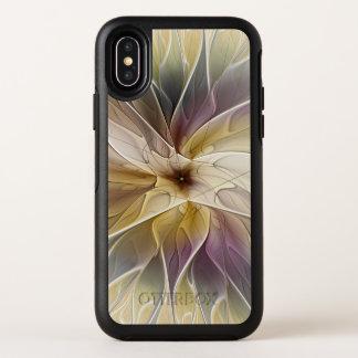 Capa Para iPhone X OtterBox Symmetry Arte floral do Fractal do abstrato da beringela do