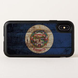 Capa Para iPhone X OtterBox Symmetry Bandeira do estado de Minnesota na grão de madeira