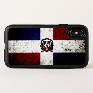 Capa Para iPhone X OtterBox Symmetry Bandeira preta da República Dominicana do Grunge