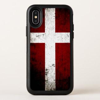 Capa Para iPhone X OtterBox Symmetry Bandeira preta de Dinamarca do Grunge