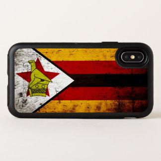 Capa Para iPhone X OtterBox Symmetry Bandeira preta de Zimbabwe do Grunge
