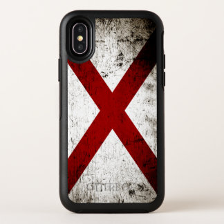 Capa Para iPhone X OtterBox Symmetry Bandeira preta do estado de Alabama do Grunge