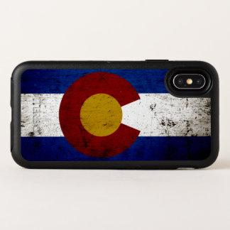 Capa Para iPhone X OtterBox Symmetry Bandeira preta do estado de Colorado do Grunge