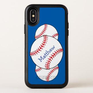 Capa Para iPhone X OtterBox Symmetry Caixa azul do iPhone X de OtterBox do basebol