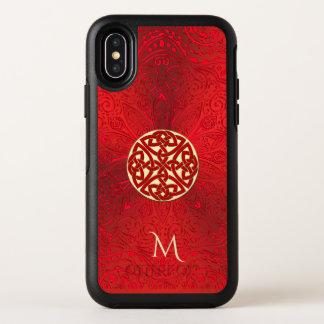 Capa Para iPhone X OtterBox Symmetry Caixa celta vermelha de Otterbox do monograma da