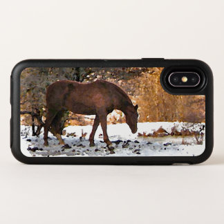 Capa Para iPhone X OtterBox Symmetry Cavalo de Brown no caso do iPhone X de OtterBox do
