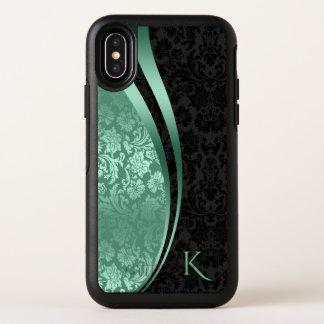 Capa Para iPhone X OtterBox Symmetry Design geométrico dos damascos pretos &