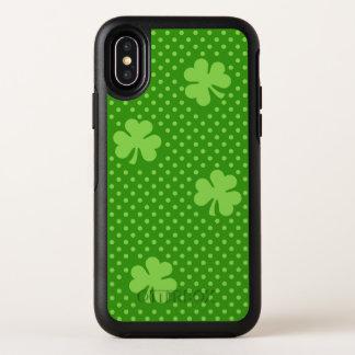 Capa Para iPhone X OtterBox Symmetry Dia verde de Patricks do santo do teste padrão do