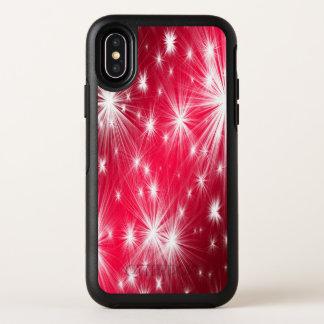 Capa Para iPhone X OtterBox Symmetry Estrelas vermelhas do Natal com flocos de neve e