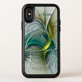Capa Para iPhone X OtterBox Symmetry Evolução do Fractal, nome dourado do abstrato de