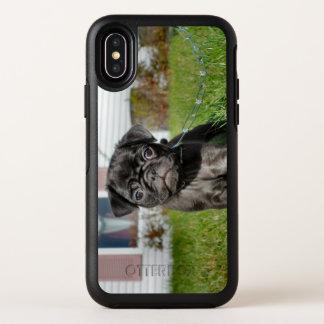 Capa Para iPhone X OtterBox Symmetry Filhote de cachorro preto do pug