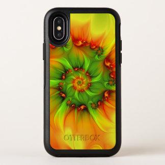 Capa Para iPhone X OtterBox Symmetry Fractal colorido do abstrato quente da laranja do