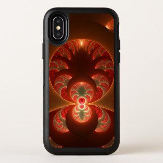 Capa Para iPhone X OtterBox Symmetry Fractal moderno abstrato luminoso do vermelho