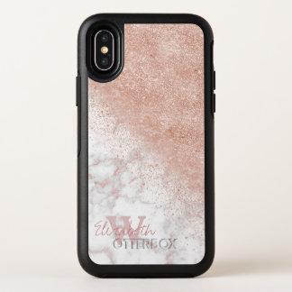 Capa Para iPhone X OtterBox Symmetry Imagem de mármore branca dos confetes cor-de-rosa