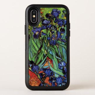 Capa Para iPhone X OtterBox Symmetry Íris de Van Gogh, belas artes do jardim do vintage