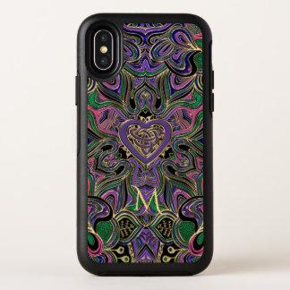 Capa Para iPhone X OtterBox Symmetry Mandala celta do nó do coração do monograma