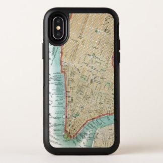 Capa Para iPhone X OtterBox Symmetry Mapa antigo do Lower Manhattan e do Central Park