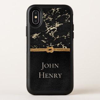 Capa Para iPhone X OtterBox Symmetry Metal, mármore, e corda pretos