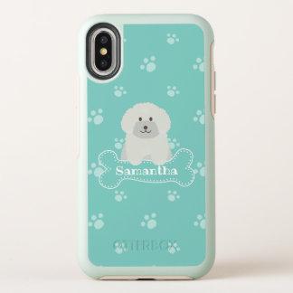 Capa Para iPhone X OtterBox Symmetry Monograma branco macio bonito do amante do cão de