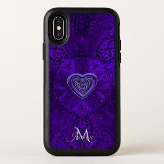 Capa Para iPhone X OtterBox Symmetry Monograma celta roxo da mandala do coração