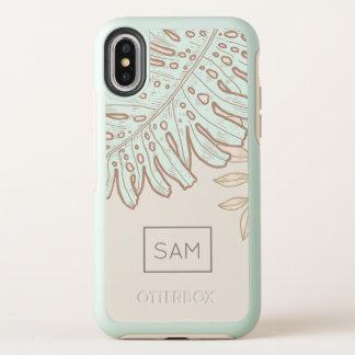 Capa Para iPhone X OtterBox Symmetry Monograma. Folhas tropicais modernas da palmeira