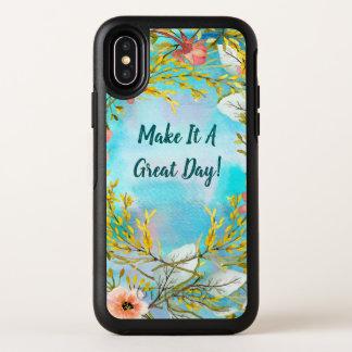 Capa Para iPhone X OtterBox Symmetry Monograma que inspira floral bonito das palavras