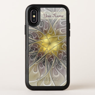 Capa Para iPhone X OtterBox Symmetry Nome abstrato moderno da flor do Fractal do ouro