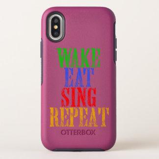 Capa Para iPhone X OtterBox Symmetry O acordar come canta a repetição