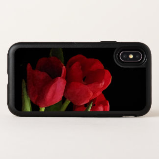 Capa Para iPhone X OtterBox Symmetry O jardim vermelho da tulipa floresce a caixa do
