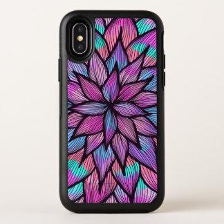 Capa Para iPhone X OtterBox Symmetry Pétalas florais alinhadas da aguarela preto