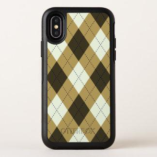 Capa Para iPhone X OtterBox Symmetry Preto e teste padrão geométrico de Argyle das
