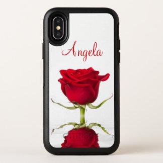 Capa Para iPhone X OtterBox Symmetry Reflexão da flor da rosa vermelha