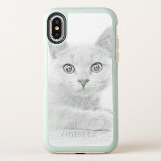 Capa Para iPhone X OtterBox Symmetry Retrato BONITO do gatinho em preto e branco