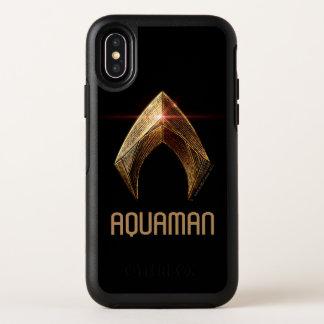 Capa Para iPhone X OtterBox Symmetry Símbolo metálico da liga de justiça | Aquaman
