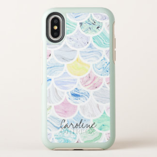 Capa Para iPhone X OtterBox Symmetry Teste padrão de mármore do Scallop da sereia do
