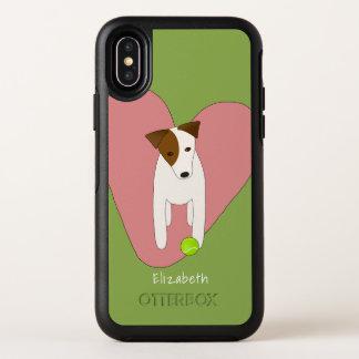 Capa Para iPhone X OtterBox Symmetry verde bonito do rosa da bola de tênis do coração