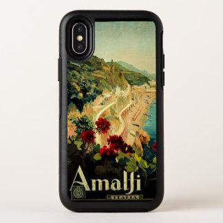 Capa Para iPhone X OtterBox Symmetry Viagens vintage, praia italiana da costa de Amalfi