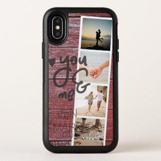 Capa Para iPhone X OtterBox Symmetry Você & mim. Colagem da foto das memórias. Madeira