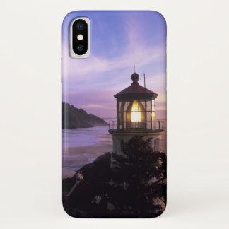 Capa Para iPhone X OU, costa de Oregon, farol principal de Heceta,