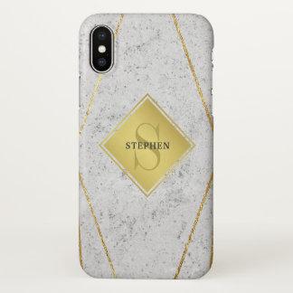 Capa Para iPhone X Ouro branco do granito do monograma masculino