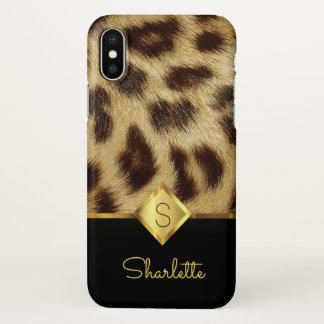 Capa Para iPhone X Ouro do preto do monograma das senhoras da pele do