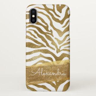 Capa Para iPhone X Ouro e impressão animal branco com brilho do ouro