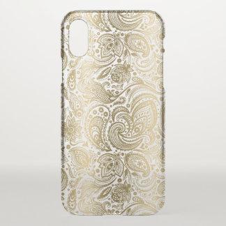Capa Para iPhone X Ouro elegante & Paisley floral branco